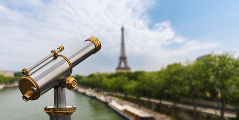 Eiffel tower view with Telescope, Paris. France