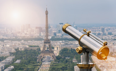 Eiffel tower with Telescope, Paris. France