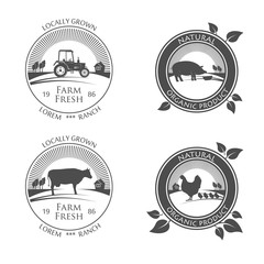 Fresh Farm Produce icons. vector logo with picture of farm chicken, pork and cow, beef