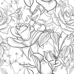 Seamless pattern with Rose, leaves and buds on a white background. Modern abstract design for paper, wallpaper, cover, fabric and other users. Vector illustration