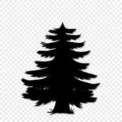 Black silhouette of fir-tree clip art isolated on transparent background.