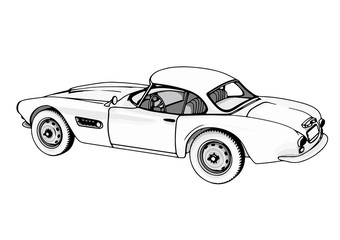 outline retro sport car vector