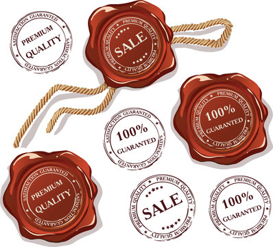 Vector set of isolated wax seal and stamps