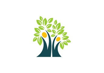 people, tree, ecology, nature, logo, healthy life family tree symbol, wellness people tree leaves icon vector design