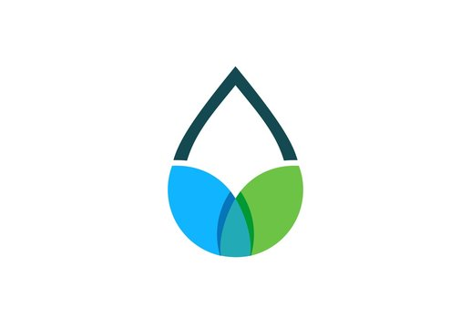 water drop leaf logo symbol shape, blue and green waterdrop spring icon concept, dew water and botany sign vector logo design template