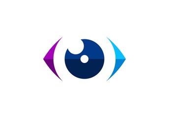 eye vision logo concept, circle blue eye visual logo icon, global modern optic eye symbol illustration vector design template