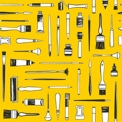 Art supplies, printmaking tools, painter equipment seamless vector pattern. Flat lay illustration, yellow background, texture. Uneven hand drawn brush, pen, marker, roller, cutter, crayon, paint tube.