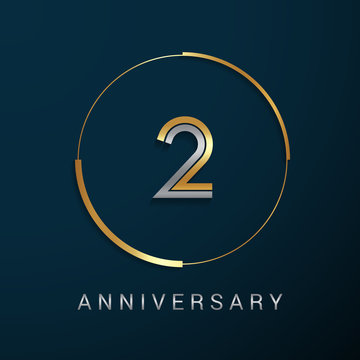 2 Years Anniversary Logotype with  Gold and Silver Multi Linear Number in a Golden Circle , Isolated on Dark Background