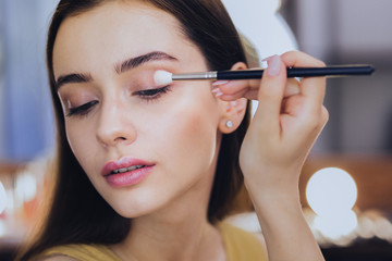 Eye shadows. Gorgeous good-looking woman using her eye shadows while holding little face brush in her hand