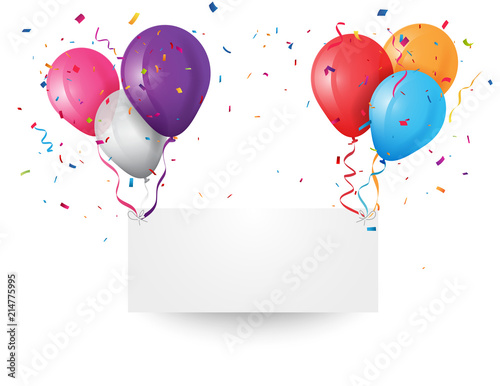 Colorful Party Frame And Confetti On White Background. Birthday and ...
