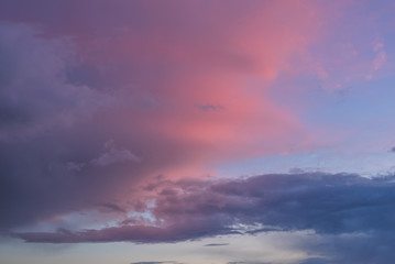 Colorful Sunset. Sky Background. Beautiful Sky with Clouds Before Sunset.