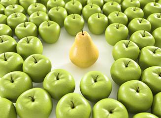 Wall Mural - 3D Birne und Äpfel