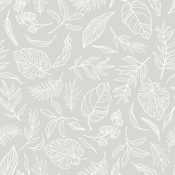 Vector elegant seamless background with foliage. Wedding endless  pattern in light grey color. Leaves in line art style.