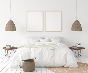 Mock-up poster frame in bedroom, Scandinavian style, 3d render