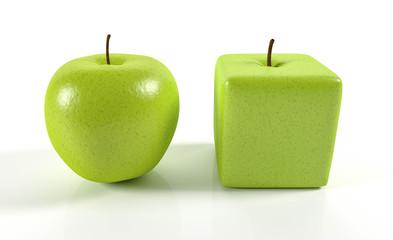 Wall Mural - 3D runder Apfel und eckiger Apfel