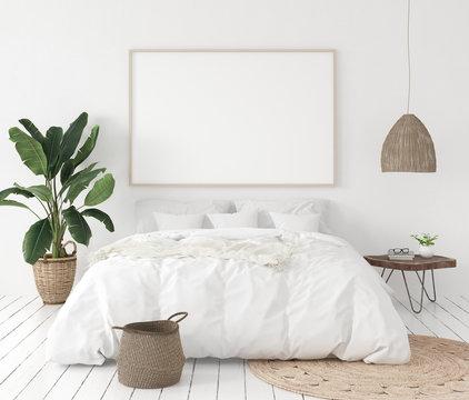 Mock-up poster frame in bedroom, Scandinavian style, 3d render