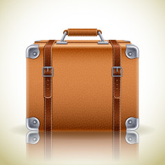 Vector illustration - Leather brown vintage suitcase for travel,eps10.