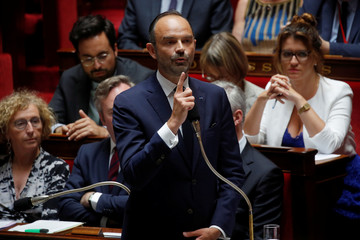 French Prime Minister Edouard Philippe speaks during the questions to the government session at the National Assembly in Paris
