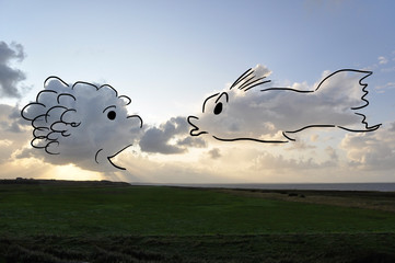 Cloudscape with an illustration by jziprian
