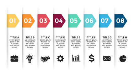 Vector paper arrows infographic, banners diagram, labels graph, stickers presentation chart. Business concept with 8 options, parts, steps, processes. Slide template.