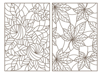 Set of contour illustrations of stained glass Windows with leaves and flowers, dark contours on a white background