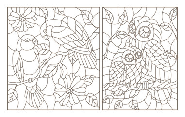 A set of contour illustrations in the style of stained glass with birds, a pair of parrots lovebirds and owl with owlet, dark contours on a white background