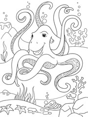 Childrens coloring cartoon animal friends in nature. Underwater world, octopus on the ocean floor