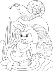 Childrens coloring cartoon animal friends in nature. Rabbit under a mushroom and snail