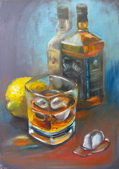 Still life with two bottles of bourbon, glass with alcohol drink with ice, with lemon and melting ice. Original artwork, oil painting on canvas