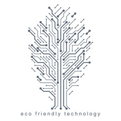 Artistic creative illustration of vector tree created in technology style, digital element. Technology and nature balance concept.
