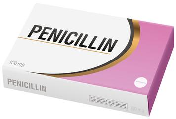 PENICILLIN - pharmaceutical fake package, isolated on white background.