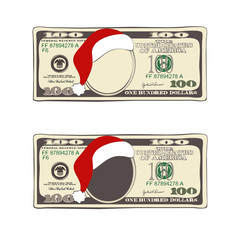 Set of Christmas bill one hundred dollars with Santa Claus hat.