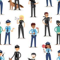 Policeman characters funny cartoon man pilice person uniform cop standing people security vector illustration seamless pattern background