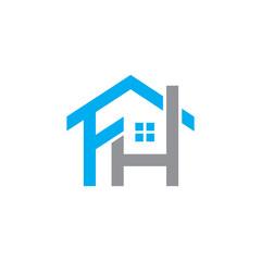 F H Initial letter logo element. home letter logo template