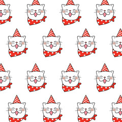 Pattern background face of cat with beautiful party hat