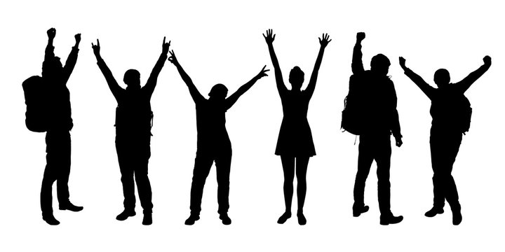 Set of realistic silhouettes of people enjoying with hands up