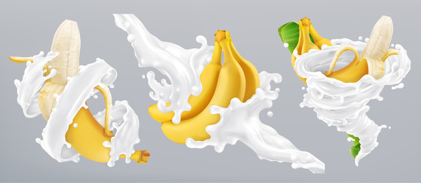 Banana and milk splash, yogurt. 3d realistic vector icon