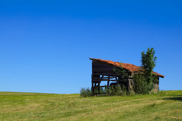 Hut with red roof on a green meadow with a deep blue summer sky