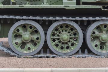 Tank caterpillar tread with wheels.