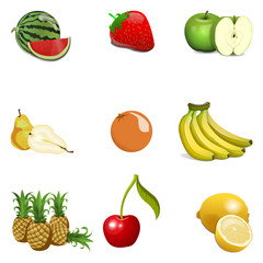 Cartoon Fruit Set Isolated. Vector