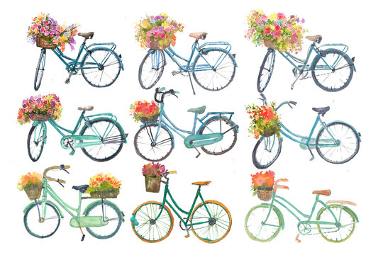 Set of bicycle with flower on white background, watercolor illustrator, hand painted