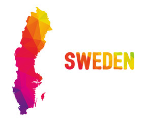 Low polygonal map of Kingdom of Sweden (Konungariket Sverige) with sign Sweden, both in warm colors of red, purple, orange and yellow; sovereign state in Scandinavia, Northern Europe