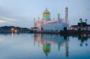 Brunei Great Mosque at sunset