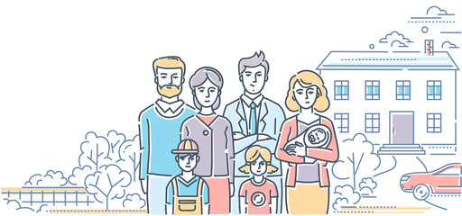 Family values - colorful line design style illustration