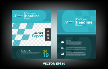 Cover design of business annual report with blue tone concept for presentation,vector illustration design,eps10.