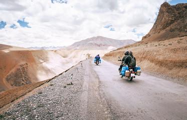 Motorcycle travelers ride in indian Himalaya roads
