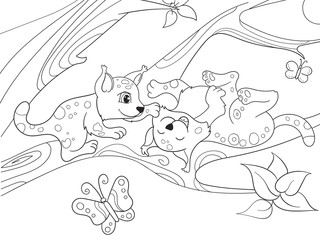 Childrens coloring book cartoon family of leopards on nature.