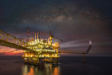 Technician or worker on the crew boat during transfer to platform or drilling rig  in process oil and gas platform offshore,technician Wall mural