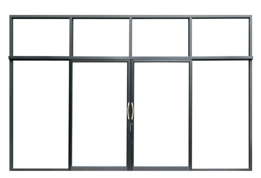 Large double open glass door isolated on white background