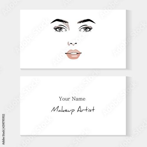 Set Business Card Template For Makeup Artist Beautiful Woman